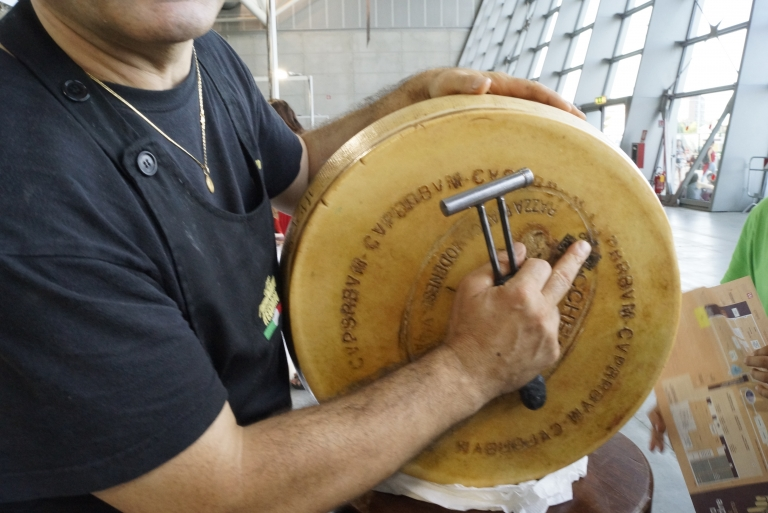 Caseificio Rosola demonstrating the markings on the DOP Parmesan